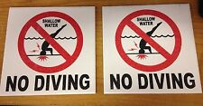 Lot of 2 NO DIVING SHALLOW WATER Ceramic Inlays For Swimming Pools NEW!!