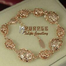18CT Rose Gold GP Hollow-out Sparkling Heart Bracelet W/ Gen SWAROVSKI Crystals
