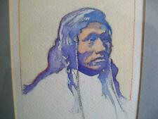 "Haunting Watercolor of Mandan Native American ""Running Face"" Signed  REDUCED!!!"