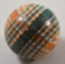 """RARE EARLY PERIOD UNGLAZED 2-COLOR PLAID LINED CHINA MARBLE 25/32"""" (ca1850-1860)"""