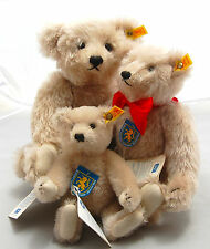 "Vtg Steiff Mohair Plush Teddy Bear 3pc Family  0167 Jointed 1906 Replica 8""-16"""