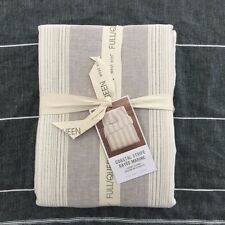 West Elm Coastal Stripe Queen duvet cover only Frost Gray Cotton Linen