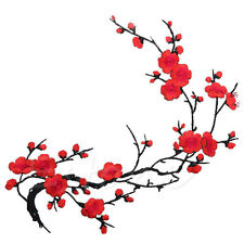 Beautiful Embroidered Plum Blossom Flower Patch Iron on Applique Motif Craft Hot