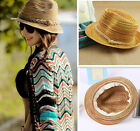 Women Ladies Sun Straw Hat Bohemia Striped Brim Trilby Summer Beach Caps
