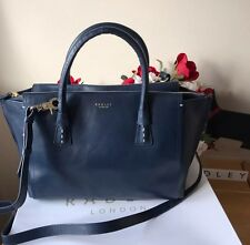 "RADLEY LARGE NAVY BLUE LEATHER ""WIMBLEDON"" HANDBAG Bnwt RRP - £199.00"