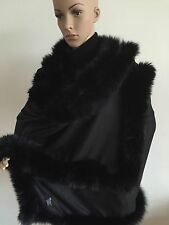 Cashmere Black Cape With Black Fox Fur RRP GBP 360!!!