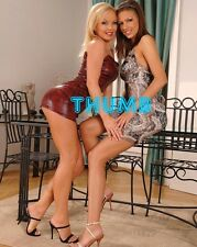Sylvia Saint - 10x8 inch Photograph #060 in PVC Mini Dress with Brunette Friend
