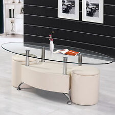 3PC Cream Oval Tempered Clear Glass Top PU Upholstery Coffee Table Ottoman Set