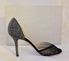 NWB Jimmy Choo 'Luz 85 Mesh W/ Hot Fix/W BlackCrystals Retail &1325..sz 37 US 7.