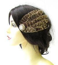 Braun Natürlich Fasan-feder Fascinator Haarspange Elfenbein Silber Perle Vtg