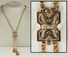 Antique Slide Necklace - Engraved, Enameled, Tasseled: Divine Condition!
