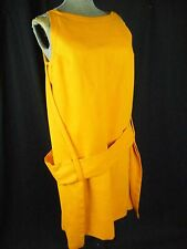 RUDI GERNREICH Vtg 60s Designer Orange Linen Silk Wrap Layers Dress-Bust 37/S-M