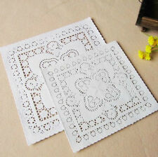 250 pcs 8 Inch Paper Doilies White Square Hollow Lace Cakes Biscuits Paper Pads