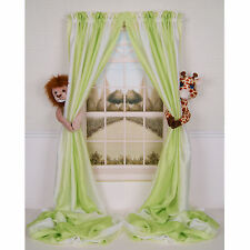 CURTAIN CRITTERS BABY NURSERY JUNGLE SAFARI LION & GIRAFFE CURTAIN TIEBACK SET