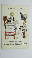 WW1 Comic Postcard Christening War Baby Jellicoe Liege Kitchener Fashion Hat