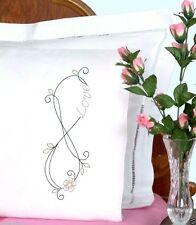 "Jack Dempsey Stamped Embroidery Pack 20"" x 30"" Pillowcases ~ INFINITY #1600-927"