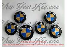 GOLD & BLUE CARBON FIBER BMW Badge Emblem Overlay HOOD TRUNK RIMS FITS ALL BMW