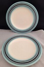 Set of 2 Laurie Gates Casual Collection  White Aqua Brown Salad Dessert Plates