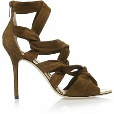 $1,095 Jimmy Choo KAMI Suede Sandal  Strappy Heel Shoes Olive Green Army 40- 9.5