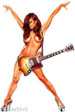 Sexy Girl Nude RedHead behind Guitar Decal Sticker OOP Rare