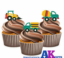 Digger Tipper Mixer Birthday Party 12 Cup Cake Toppers Edible Decorations