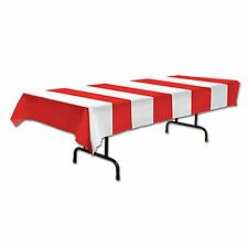 Table cover CIRCUS CARNIVAL Big Top Party Decoration RED WHITE Striped
