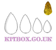 Leaf Cutters Plain - Serrated Small 4 Set for Sugarcraft and Cake Decorating