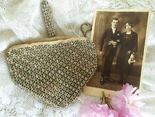 Art Deco Vintage 1920s 30s Checa Diamante Estrás Embrague Bag Purse. nupcial