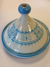 Moroccan Serving Tajine Plate Ceramic GLAZED Terracotta Large Light Blue