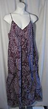 Merona 2 2X Purple White Batik Maxi Dress Sundress Plus Size
