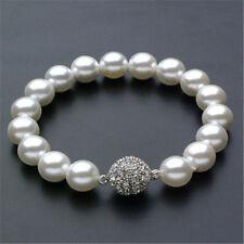 "Fashion 10mm Genuine Akoya White shell Pearl Bracelet 7.5"""
