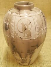Native American Hand Etched Horsehair Pottery Hilda Whitegoat Medium Tall Vase