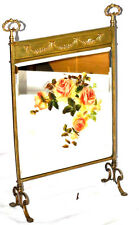 Art Nouveau Brass Hand Painted bevelled Mirror Fire Screen - FREE P&P [PL2832]