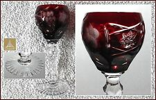 RUBY RED Cordial Glass Hock CUT TO CLEAR Lead CRYSTAL Annahuette TRAUBE Germany