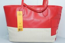 Tory Burch Stacked T East West Bag Red Tote Hobo Handbag Shoulder Bag NWT