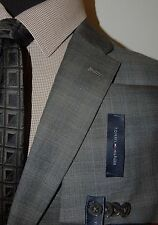 TOMMY HILFIGER MEDIUM GRAY WINDOWPANE MENS SUIT FLAT FRONT SLACKS 46R 41W