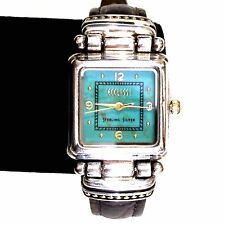 ECCLISSI Turquoise Face Leather Band Sterling Silver Ladies Women's Watch