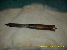 Vintage Swedish Fixed Blade Burled Birch Barrel Handle  Knife Eskilstuna Sweden