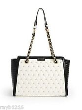 NWT Guess Black & White Faux Leather Gold Metal Studded LUXE Carryall Handbag