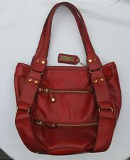 Melie Bianco Red Hobo Shoulder Handbag Purse Faux Leather
