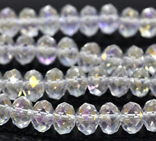 1 STRAND (72) CLEAR AB CRYSTAL FACETED 8mm RONDELLE BEADS (5040) ~Bracelets(48A)