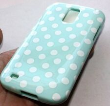 For Samsung Galaxy S2 T989 T-Mobile - HARD CASE COVER TURQUOISE BLUE POLKA DOTS