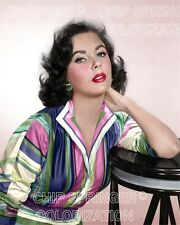 ELIZABETH TAYLOR IN COLORFUL STRIPE DRESS BEAUTIFUL COLOR PHOTO BY CHIP SPRINGER