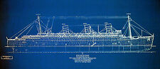 "Vintage Cunard Line Ship Queen Mary Print Blueprint Plan 24""x 34"" (002)"