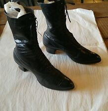 ANTIQUE  1800's Ladies All Leather Lace Up Boots with High Heels