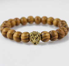 Cool Men Fashion Bracelet Gold Lion's Head 10mm Round Natural Wood Lucky Bangles