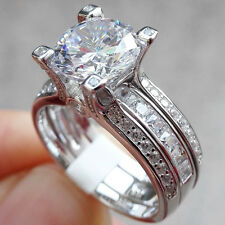2.20 CT ROUND CUT CZ  WHITE GOLD PLATED VINTAGE WEDDING RING SET WOMEN'S SIZE 5