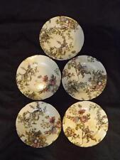 Set 5 Rochard Limoges France Floral Musical Angel Cherub Gold Dust Salad Plates