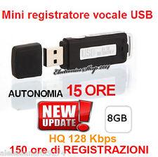 8GB REGISTRATORE VOCALE VOICE RECORDER USB MICROSPIA PENDRIVE SPY SPIA DITTAFONO
