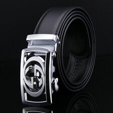 Brand leather belt men high quality Automatic Fashion mens belts (black 110cm)